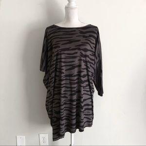 Badgley Mischka Zebra Print Suede Asymmetrical Top